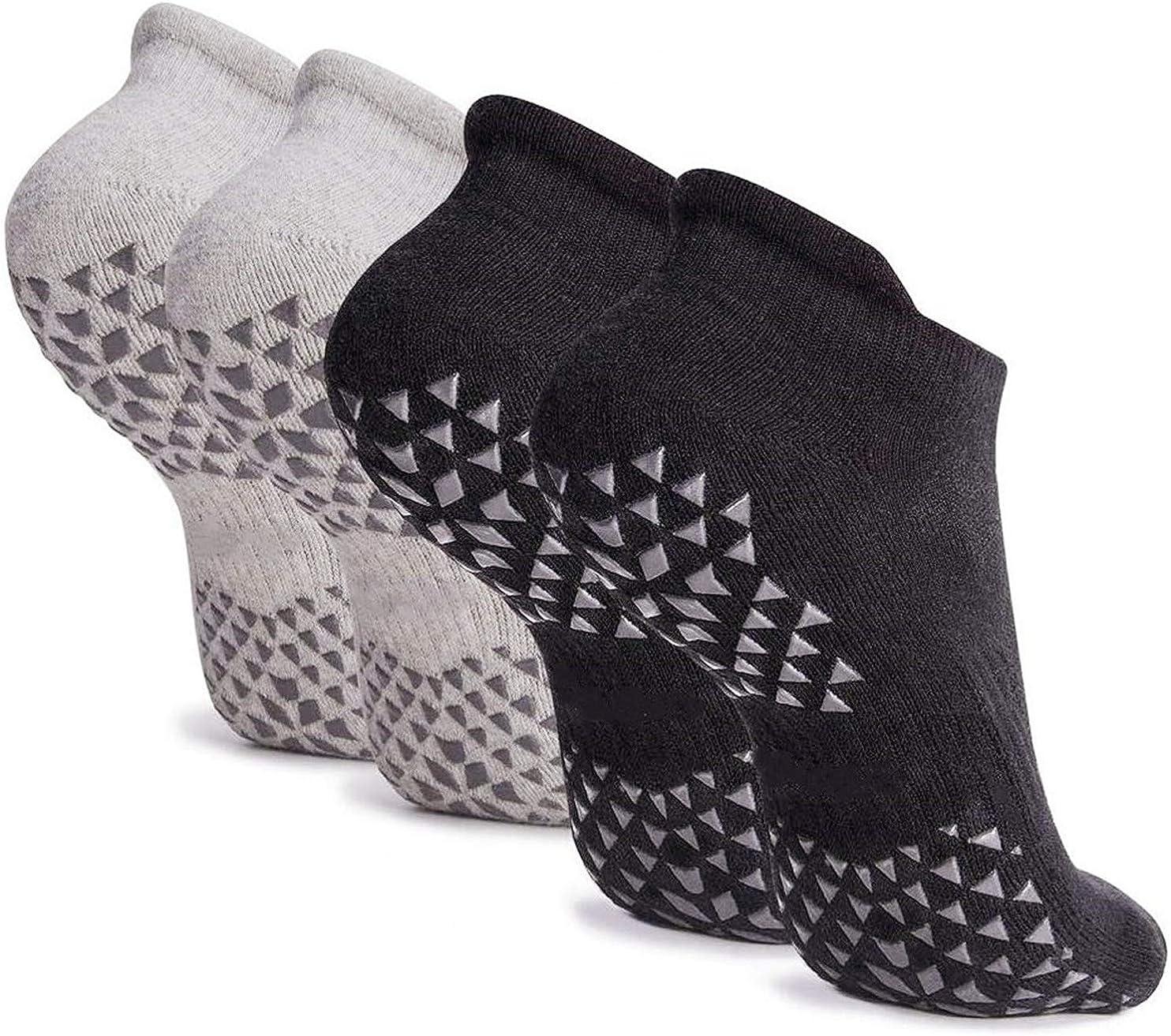 Hirsrian Unisex Non Slip Grip Socks for Yoga, Hospital, Pilates, Barre | Ankle, Cushioned: Clothing