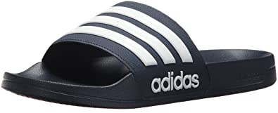 d27b2b17f615 Image Unavailable. Image not available for. Color  adidas Men s Adilette  Shower Slide Sandal White Collegiate Navy ...