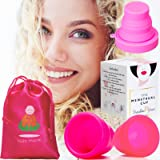 Soft Cups Menstrual Period Cup | 2 Lily Organic Diva Flex Disc Divacup with Moon Disposable Menstral Mooncup Menstural Compact Holder | Small & Large Sizes Reusable Model Sanitary Case (Color: Pink, Tamaño: Small & Large)