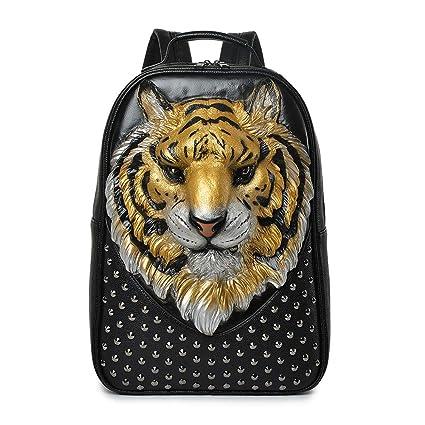 Personalidad 3D Tiger Head Mochila De Hombro Unisex Cool Rivet Backpack,Golden