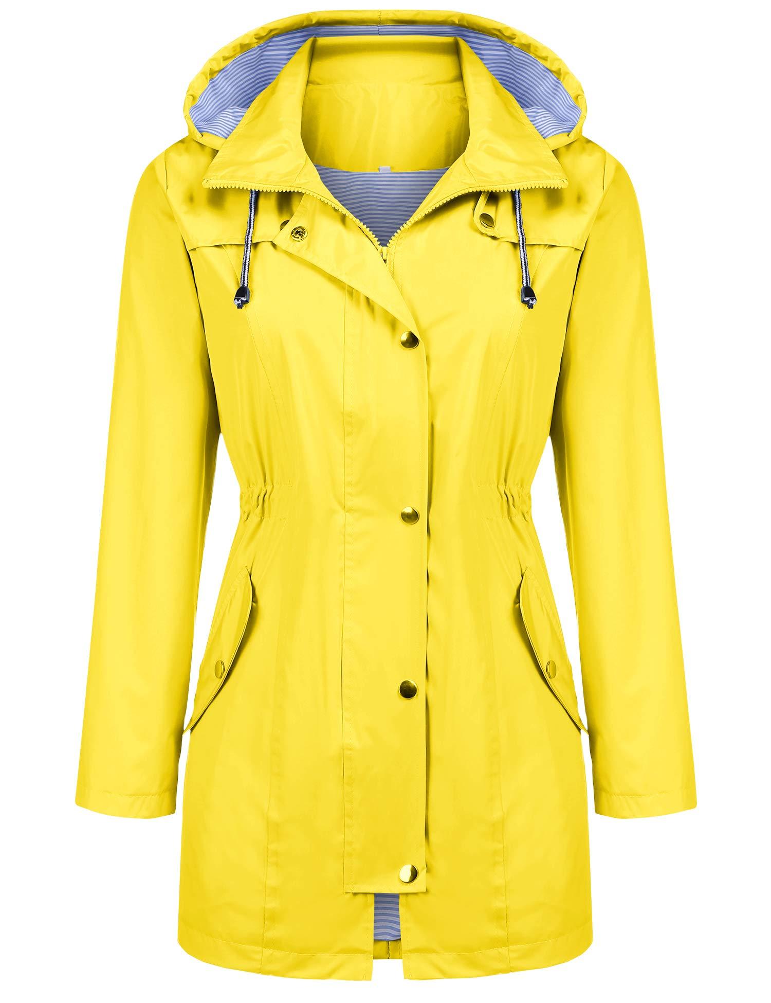 Kikibell Camping Jacket Womens Lightweight Hooded Waterproof Active Outdoor Rain Jacket Yellow M by Kikibell