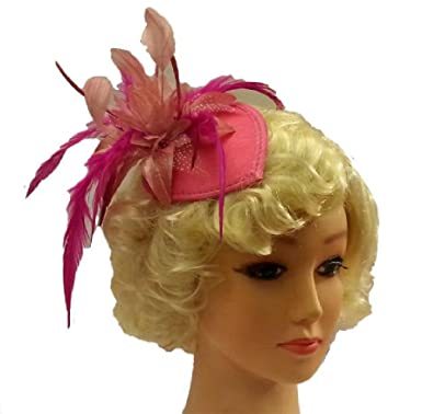 a5ad35def9578 Vintage 40s 50s Hat Hotpink Teardrop Hat Feather fascinator (hotpink ...