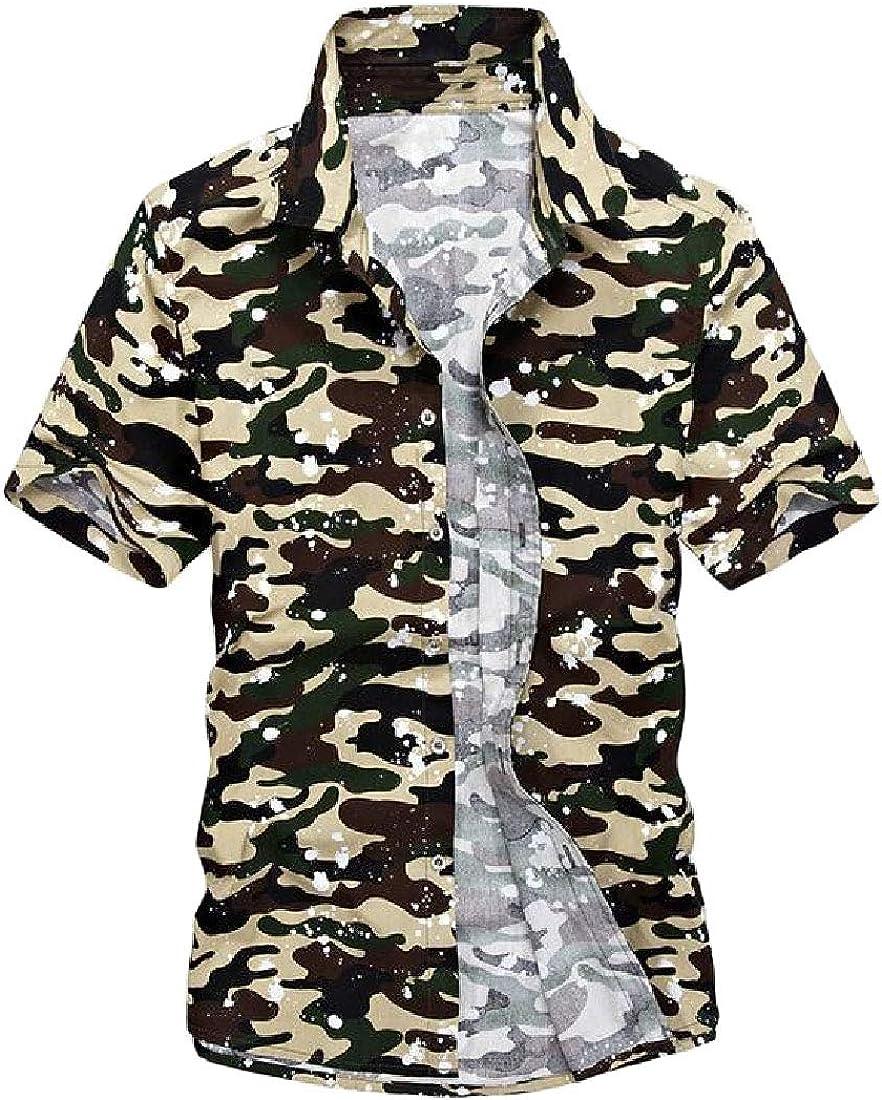 Joe Wenko Mens Summer Button Down Casual Short Sleeve Camouflage Shirts