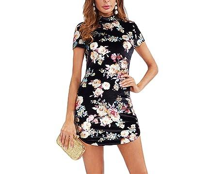 53b8f54d0c9 Unique-Shop dresses Curved Hem Floral Velvet Sexy Club Bodycon Dress  Elegant Black High Neck Short Sleeve Zipper Back at Amazon Women s Clothing  store