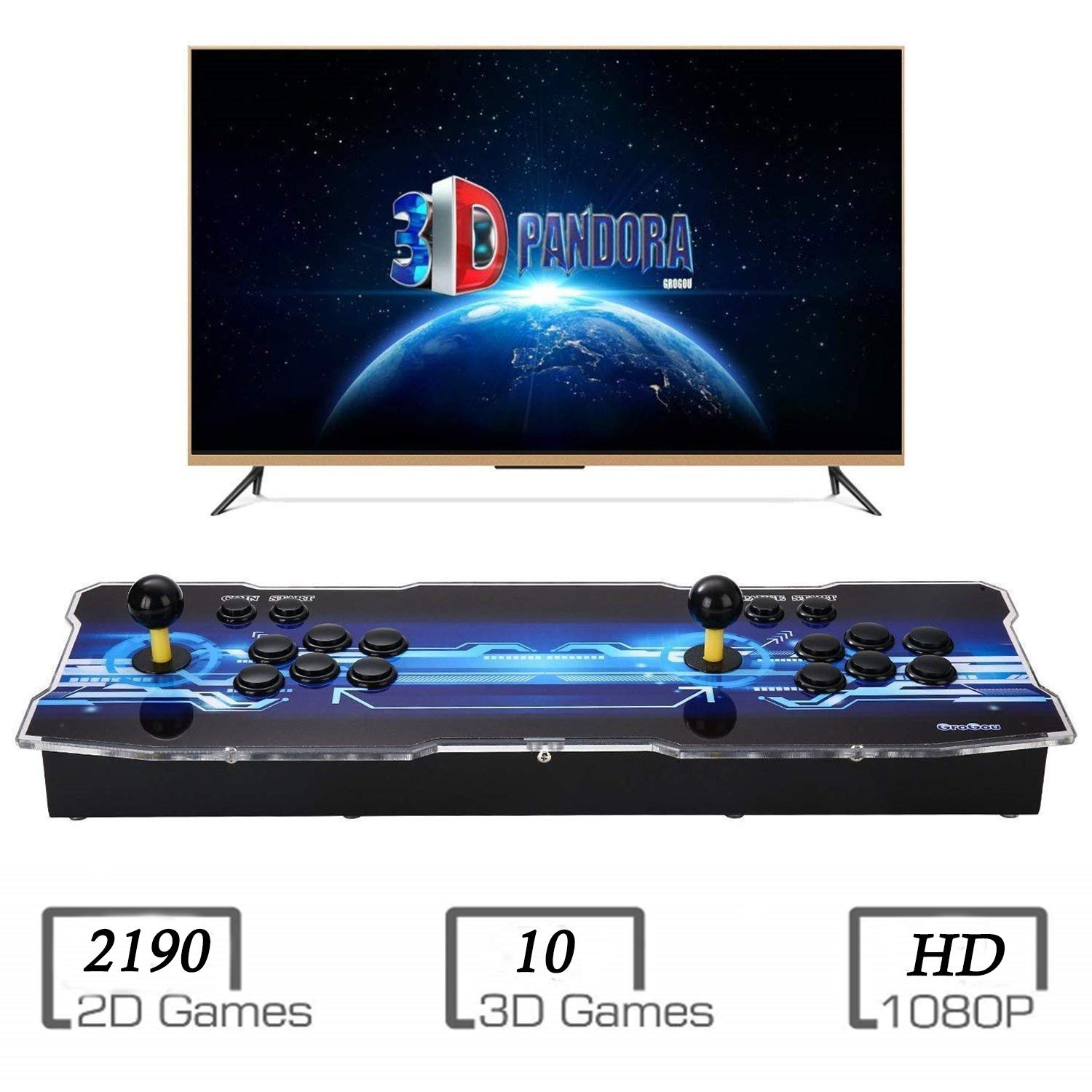 Spmywin 3D Pandora's Box Arcade Video Game Console 2200 Games Arcade Gamepad Expand 3D Games Support with 2 Players by Spmywin (Image #1)