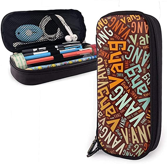 Vang - Apellido americano Estuche de cuero de alta capacidad Estuche de lápices Estuche de lápices Papelería Organizador Bolígrafo de maquillaje escolar Estuche de papelería para estudiantes: Amazon.es: Oficina y papelería