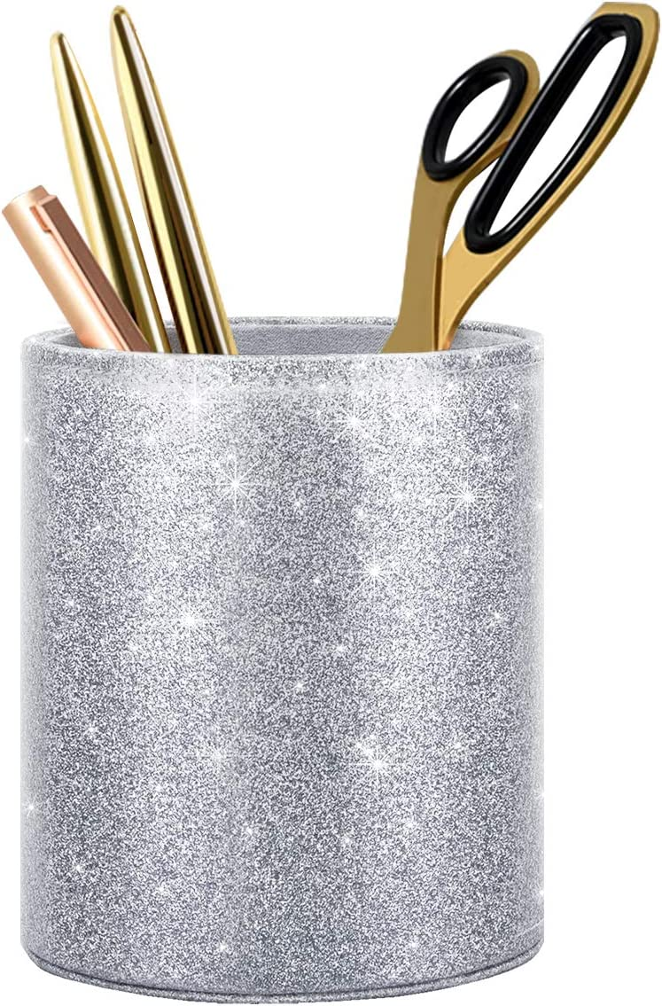 WAVEYU Glitter Pen Holder, Pencil Cup Desk Sparky Bling for Women Girls, Luxury Durable Makeup Brush Holder Large Pu Leather Multi-Functional Organizer Cup, Gift for Office, Classroom, Home, Silver