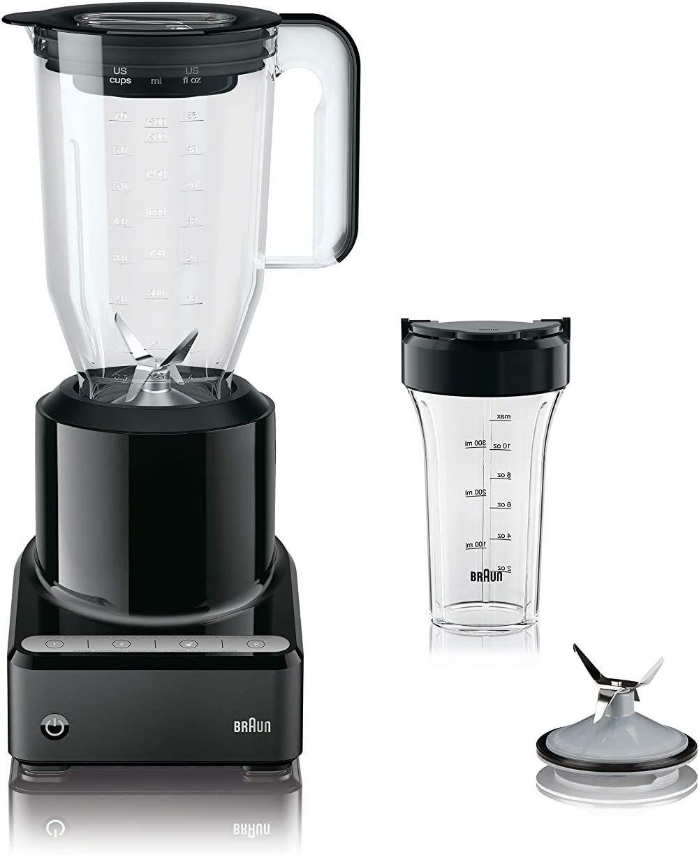 Braun JB7201BK PureMix Power Blender with Plastic Jug & Smoothie2Go Blending Cup, Black