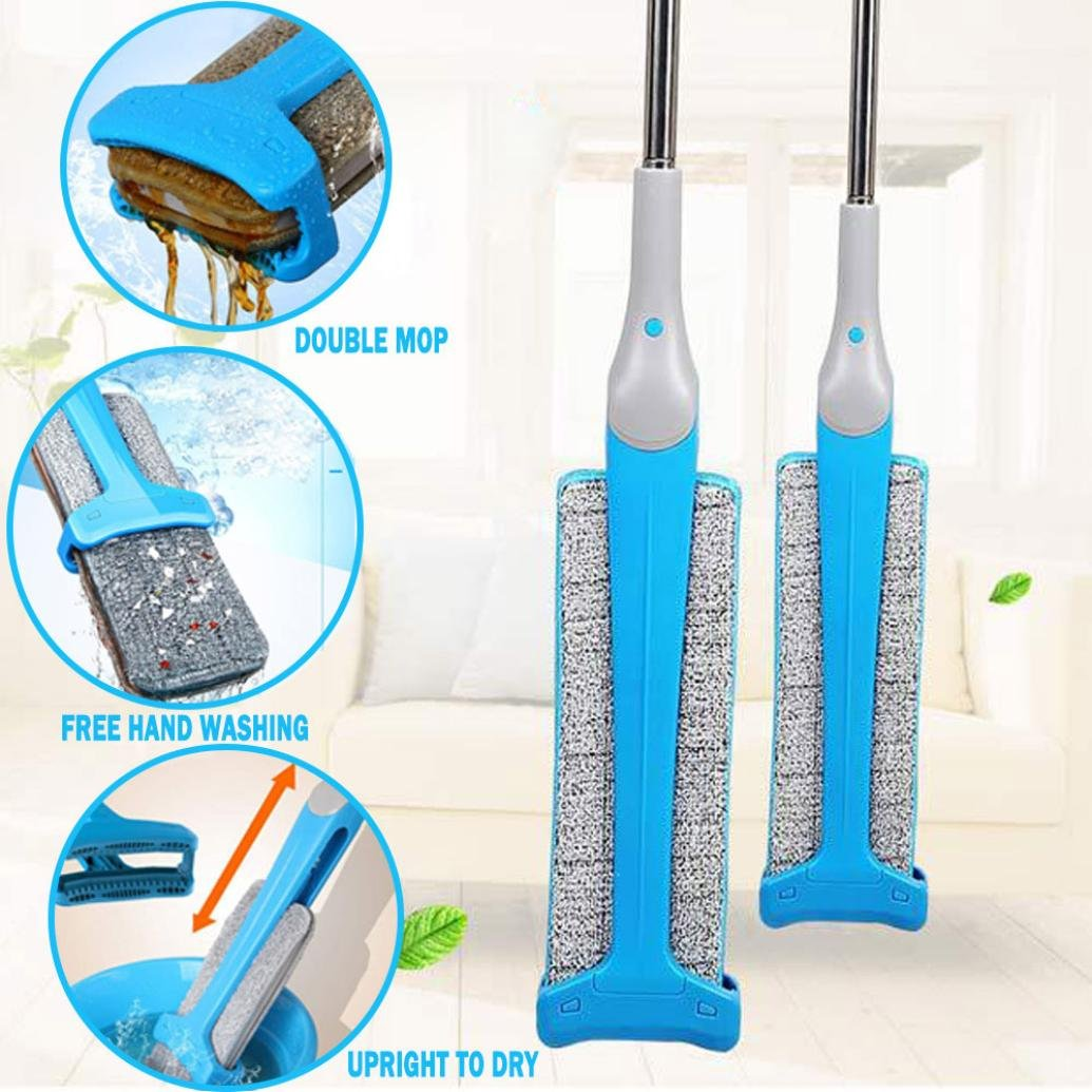 Vanvler Home Cleaning Tools, Double Sided Non Hand Washing Flat Mop Accessories Dust Push Mop Wooden Floor Mop (Blue)