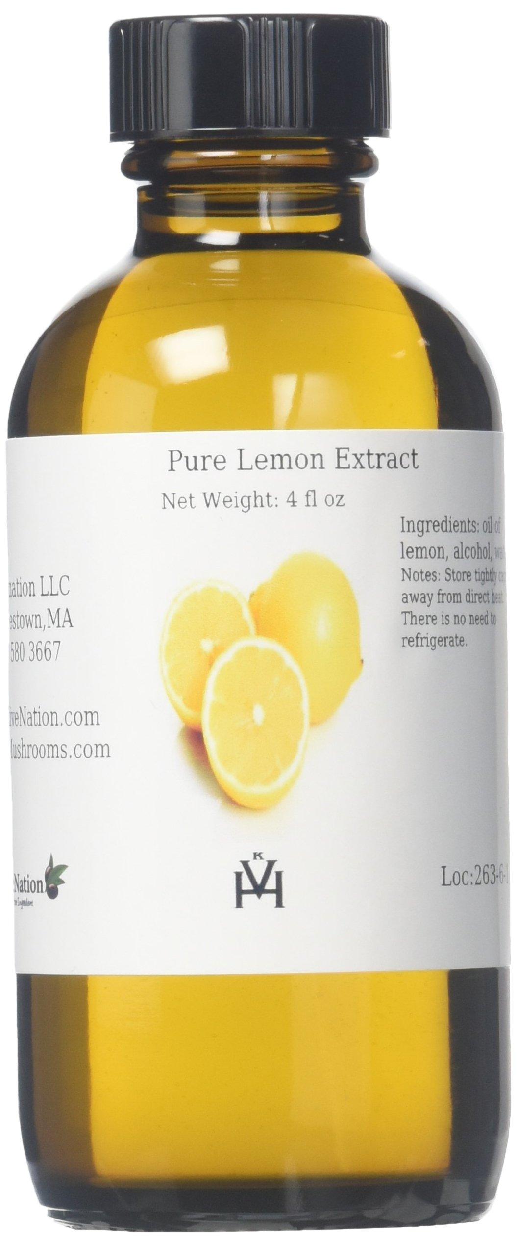 OliveNation Pure Lemon Extract for Baking, Tart Lemony Flavor for Cakes, Cookies, Icing, Filling, Terpeneless, PG Free, Non-GMO, Gluten Free, Kosher, Vegan - 4 ounces
