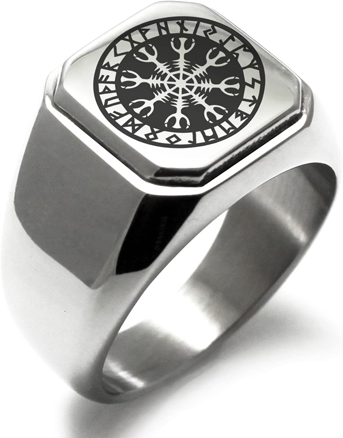 Stainless Steel Helm of Awe Viking Norse Symbol Square Flat Top Biker Style Polished Ring