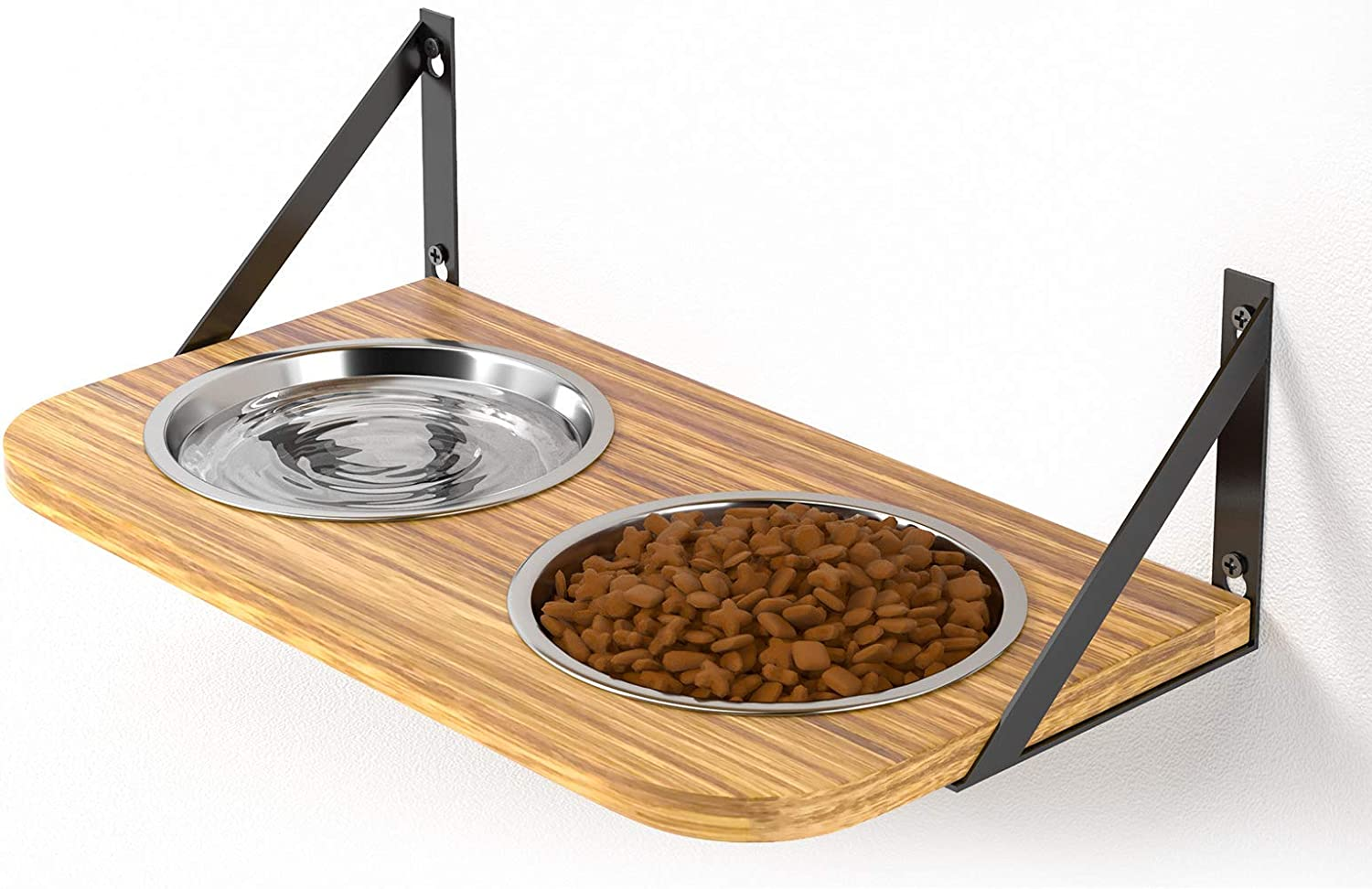 BUYBAR Adjustable Raised Dog Bowls for Large Dogs Food and Water Height Wall Mounted Floating with Stand Shelf 2 Stainless Steel Elevated Pet Comfort Cat Feeding Bowl (Single, Brown)