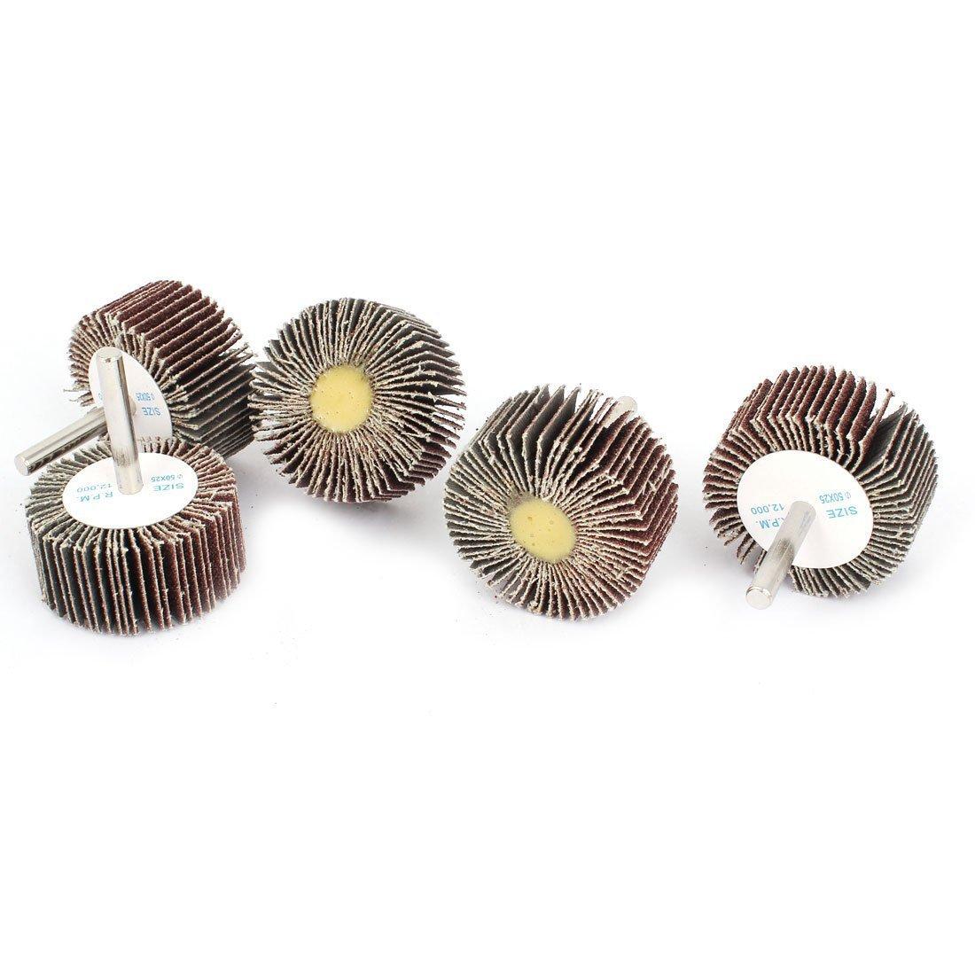 50mm x 25mm x 6mm 80 Grit Fixed Shaft Grinding Flap Wheel Discs 5pcs a14112100ux0419
