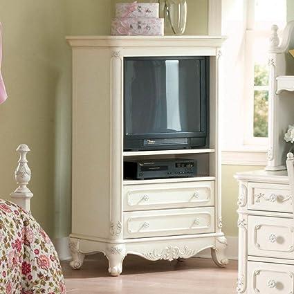 Amazon Com Homelegance Cinderella White Tv Armoire For Girls