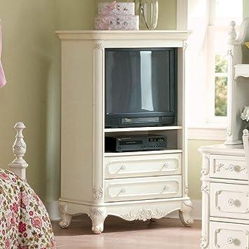 Charming Homelegance Cinderella White TV Armoire For Girls