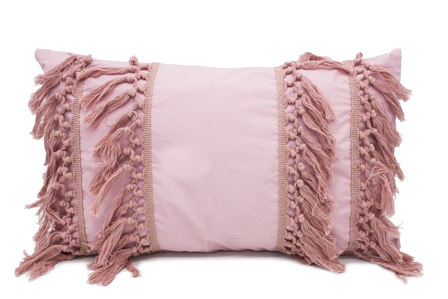 "Fennco Styles Stylish Fringe Tassels Decorative Cotton Throw Pillow (Pink, 12""x20"" Case Only) - Add a stylish and modern look to your living space with this Stripe Print Tassel Fringe Throw Pillow from Fennco Styles The horizontal tassels are sure to liven up your home settings and gives your decor a playful appeal. Mix and match this pillow with your sofa, chair and day bed for some much-needed comfort and a style. The durable cotton and easy to maintain machine wash makes cleaning this pillow a breeze. Size: 18"" W x 18"" L, 12"" W x 20"" L - living-room-soft-furnishings, living-room, decorative-pillows - 71I4pPJQwkL -"