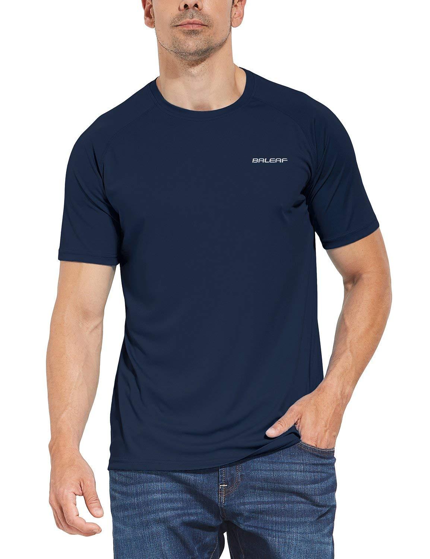 BALEAF Men's UPF 50+ Outdoor Running Workout Short-Sleeve T-Shirt Dark Blue Size XXXL by BALEAF