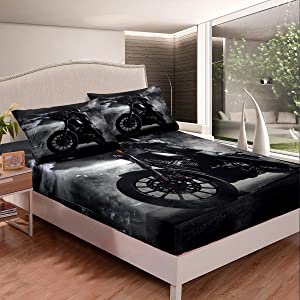 Erosebridal Dirt Bike Fitted Sheet for Kids Boys, Motocross Rider Bedding Set Queen Size, Extreme Sport Bed Cover Grunge Room Decor for Teens Youth Adulrt, Motorcycle Grey Motorbike Sport Bed Sheet