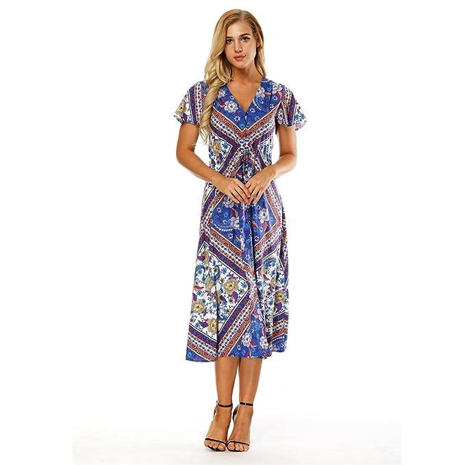 de08eadae87 AMOMA 2018 Summer Women Dress Flouncing Short Sleeve V-Neck Floral Print  Dress Bohemian Beach Midi Long Dress  Amazon.co.uk  Clothing