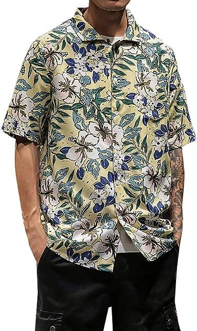 Cocoty-store 2019 Camisa Hawaiana Florar Casual Manga Corta ...