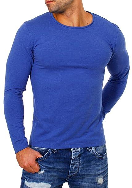 973e193a2910 Young Rich Herren Longsleeve Rundhals Ausschnitt Langarm Shirt Einfarbig  Slimfit mit Stretchanteilen Uni Basic Round-Neck Tee 2002  Amazon.de   Bekleidung