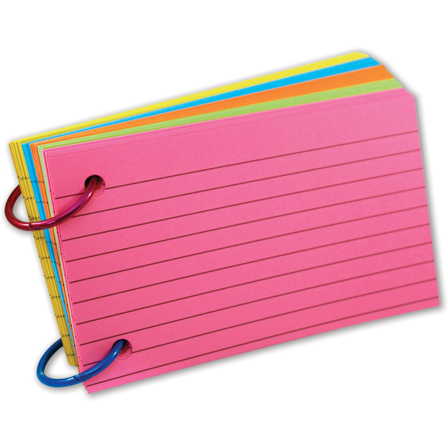 Top Notch Teacher Products TOP3674 Ring Notes, Lined, Assorted Bright Colors, 3'' x 5'', Pack of 75