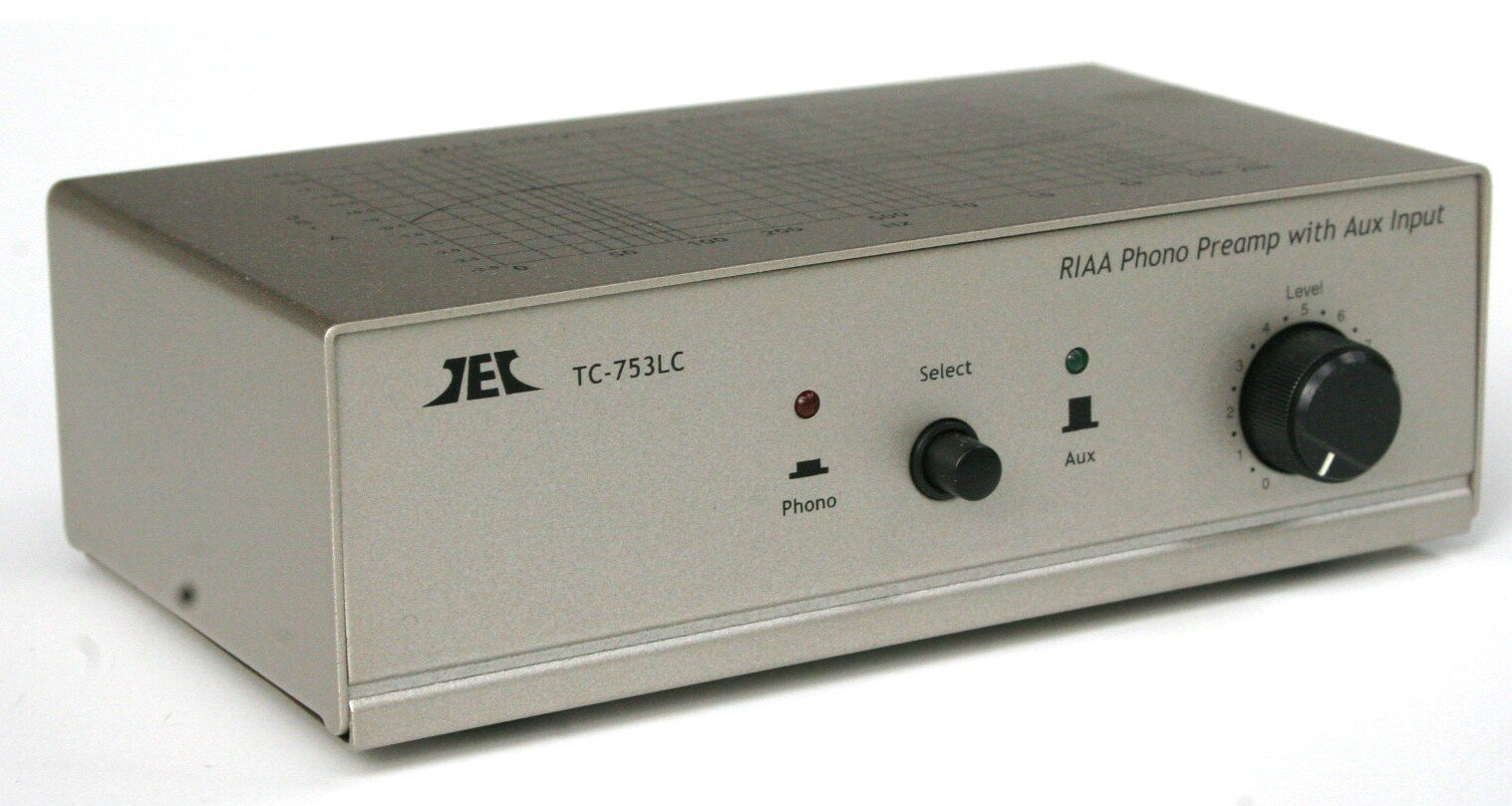 TCC TC-753LC SILVER Phono Preamp w/Level Control and AUX Input