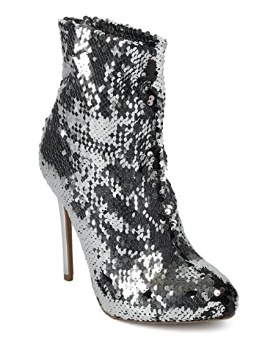 Women Reversible Sequin Ankle Boot - Almond Toe Stiletto Bootie - Holiday Special Occasion Party Trendy Dressy Ankle Bootie - HE32 by Wild Diva Collection