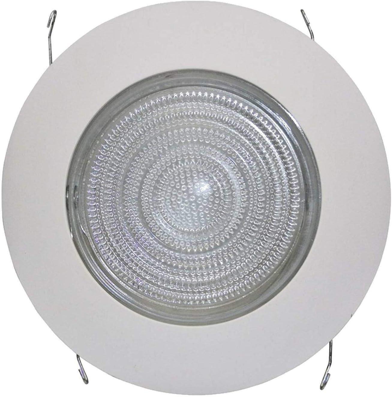 Four-Bros Lighting FLP 6 Inch Fresnel Glass Lens with White Plastic Trim-60 Watt Max -for Wet Locations 1 Pack