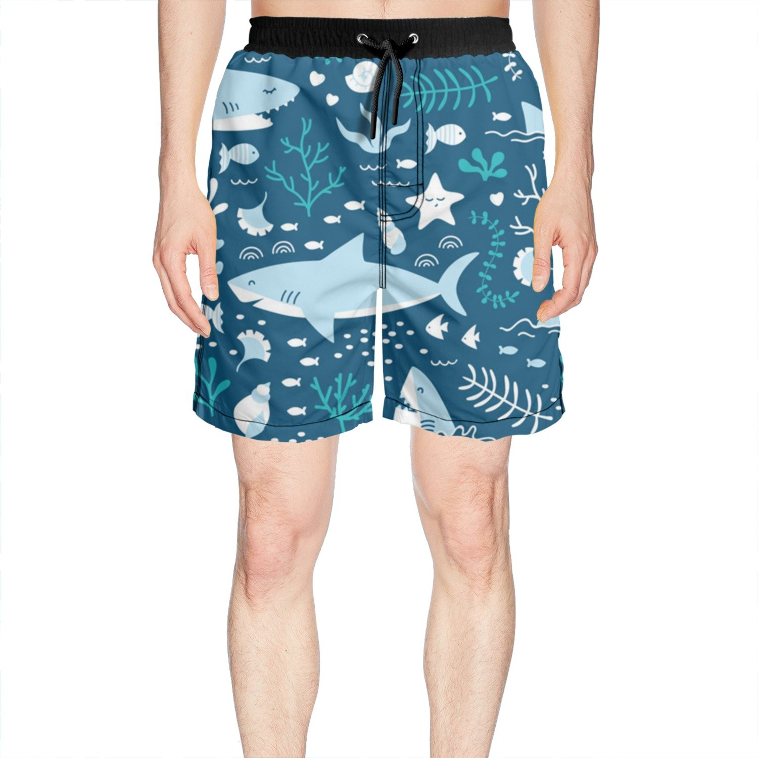 White Juliuse Marthar Men's Happy Sharks by Modern Modern Modern Fashion Swimming Trunks Short Quick Dry Summer Short d04886