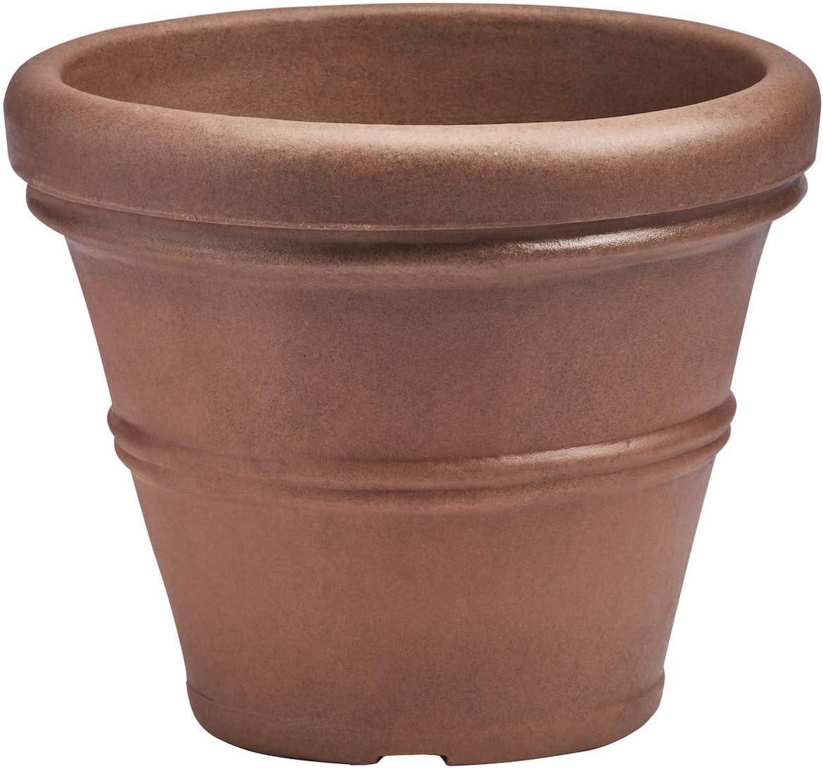Crescent Garden Brunello Planter, Classic Rolled-Rim Plant Pot, 16-Inch (Rust)