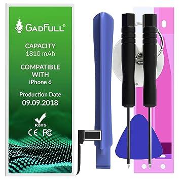b8d4f0a97d0 GadFull Batería de reemplazo para iPhone 6   2018 Fecha de producción    Incluye Kit de Herramientas Profesional de reparación Manual   Funciona con  Todos ...