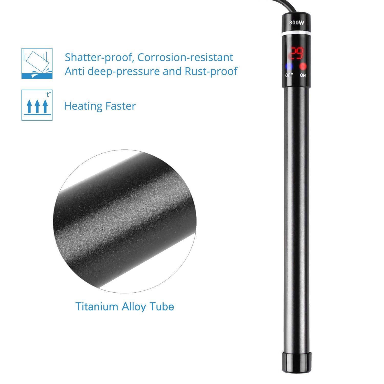 NICREW Calentador de Acuario 300W, Calentador Sumergible con Indicador LED Termóstato de Tanque de Pescado para Dulce y Salada, Aleación de Titanio ...