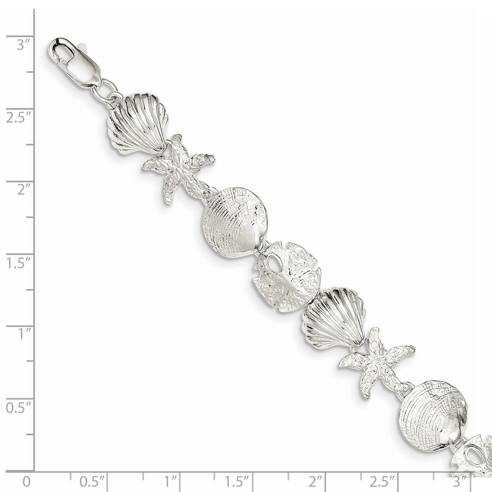 ICE CARATS 925 Sterling Silver Sea Shell Mermaid Nautical Jewelrys Bracelet 8 Inch Seashore Fine Jewelry Gift For Women Heart by ICE CARATS (Image #2)