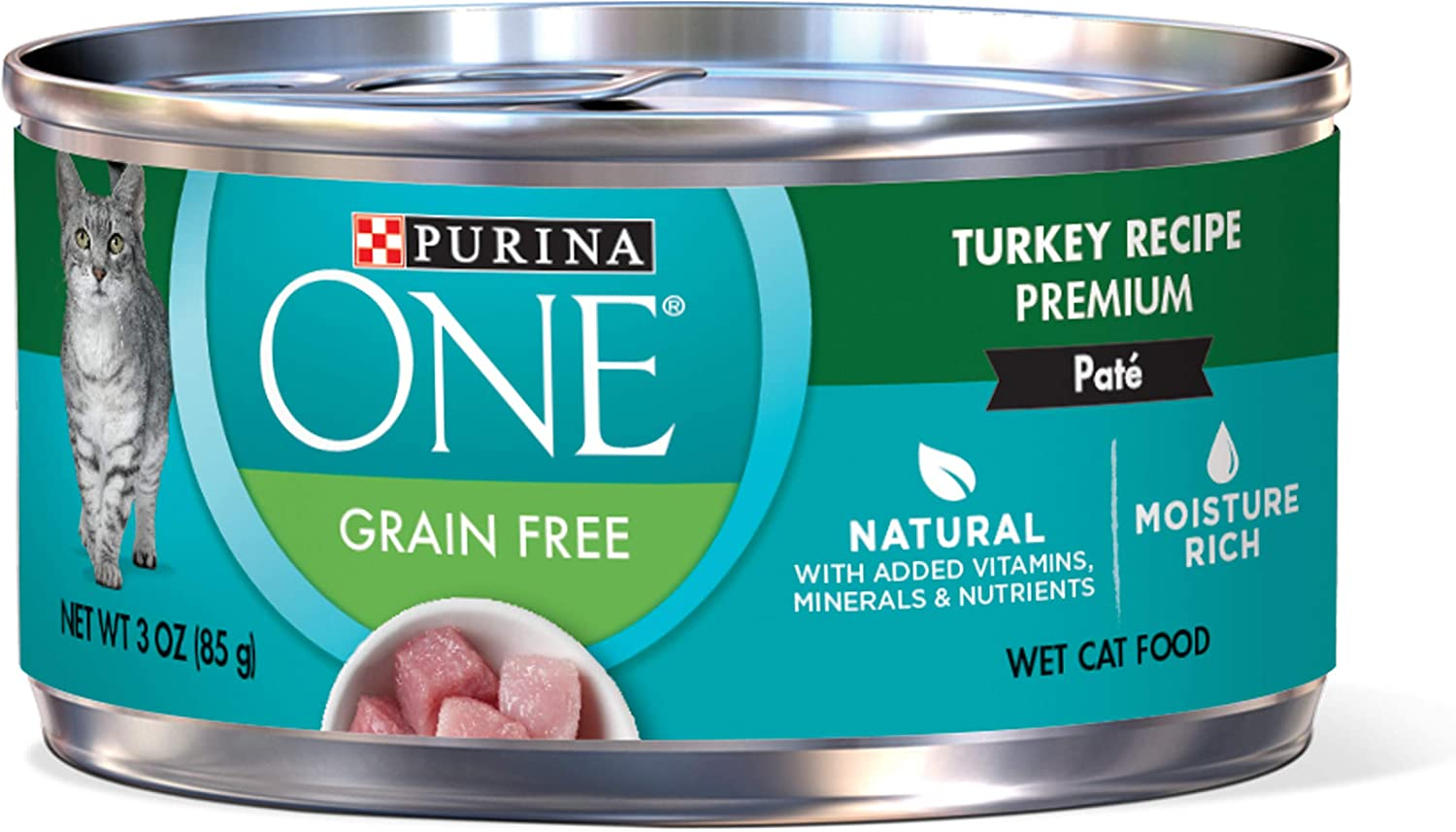 Purina ONE Natural, High Protein, Grain Free Pate Wet Cat Food, Turkey Recipe - (24) 3 oz. Pull-Top Cans
