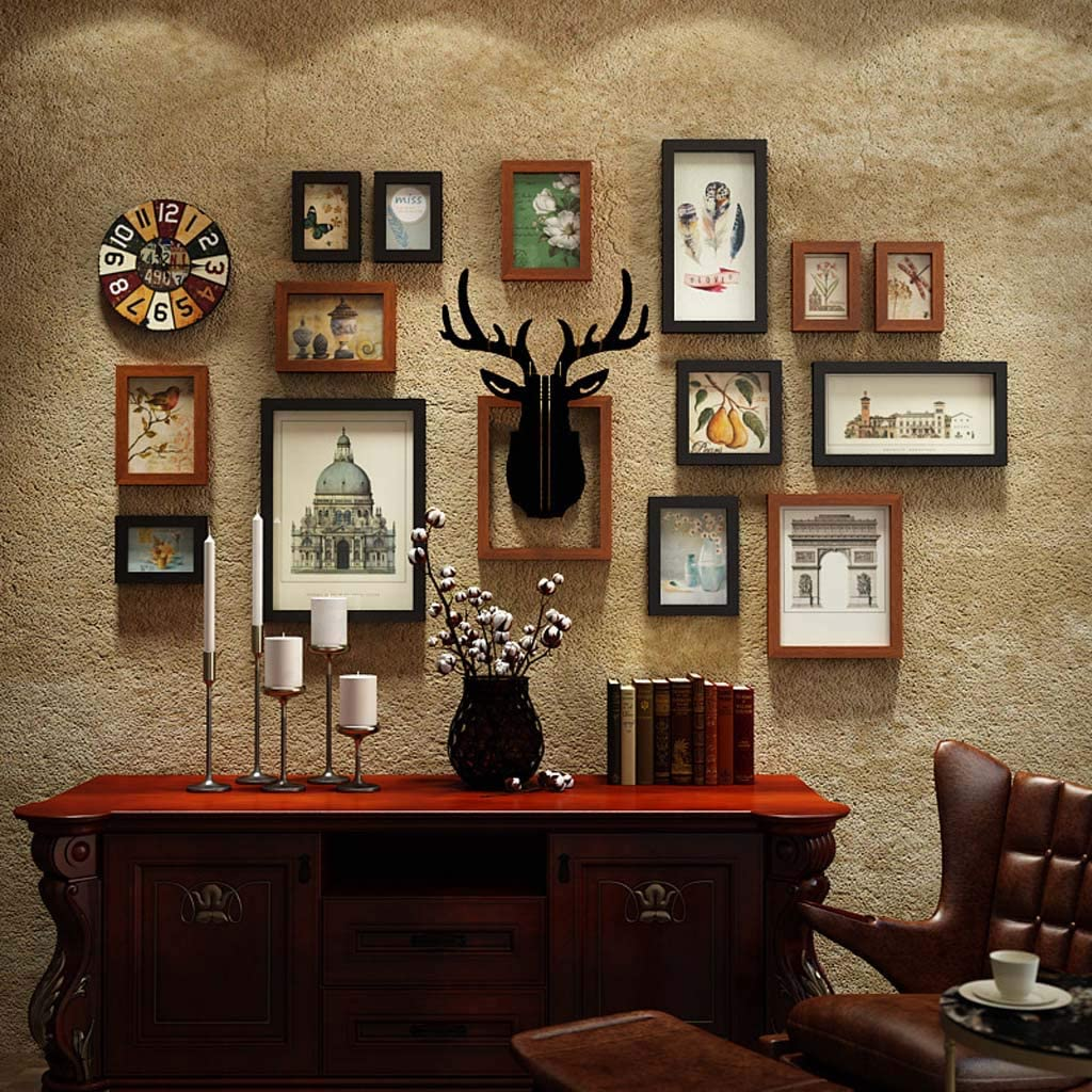 ZXW Photo Wall Set, Retro Combination Photo Frame, Deer Head Decoration Painting, Replaceable Photos, 15 Photo Frames & 2 Accessories-Black Hu