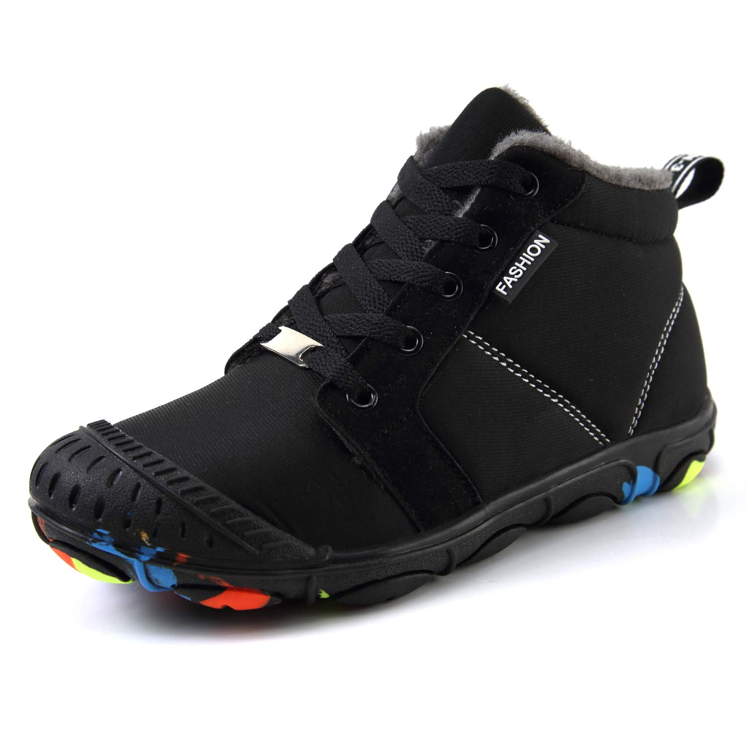 SMajong Boys Girls Winter Snow Boots Waterproof Lace-up Warm Fur Lined Ankle Booties Winter Kids Shoes Martin Boots