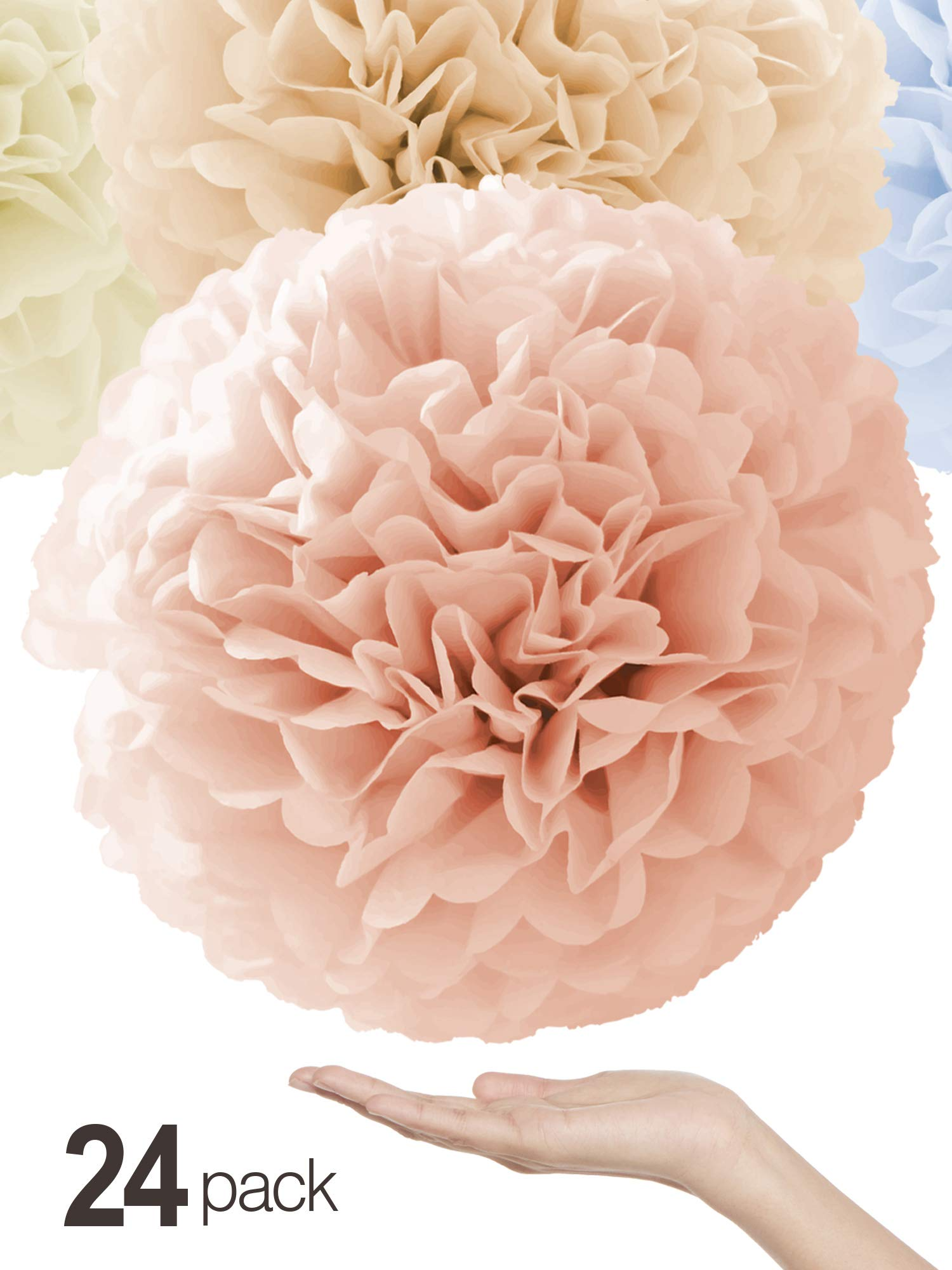 Natural Colors Tissue Paper Pom Poms [24 Pack - Sizes 14'', 10'', 8'', 6'' in White, Champagne, Peach, Ivory] Quality Party Pompoms - Perfect Paper Flowers for Weddings, Showers & Room Decorations