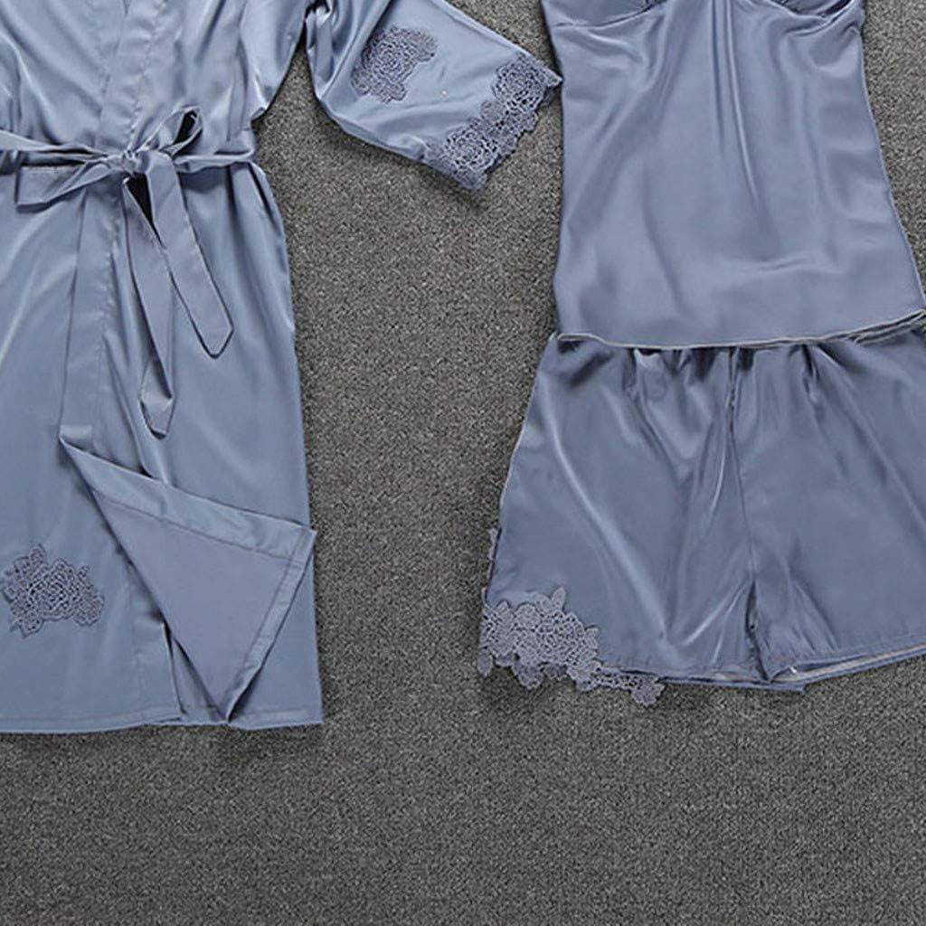 Womens Elegant Gorgeous Floral Lace Edge Satin Robe Camisole Pajama Dress 3-Piece Sleepwear Sets