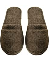 Arus Men's Turkish Terry Cotton Cloth Spa Slippers, One Size Fits Most, Chestnut Brown with Black Sole