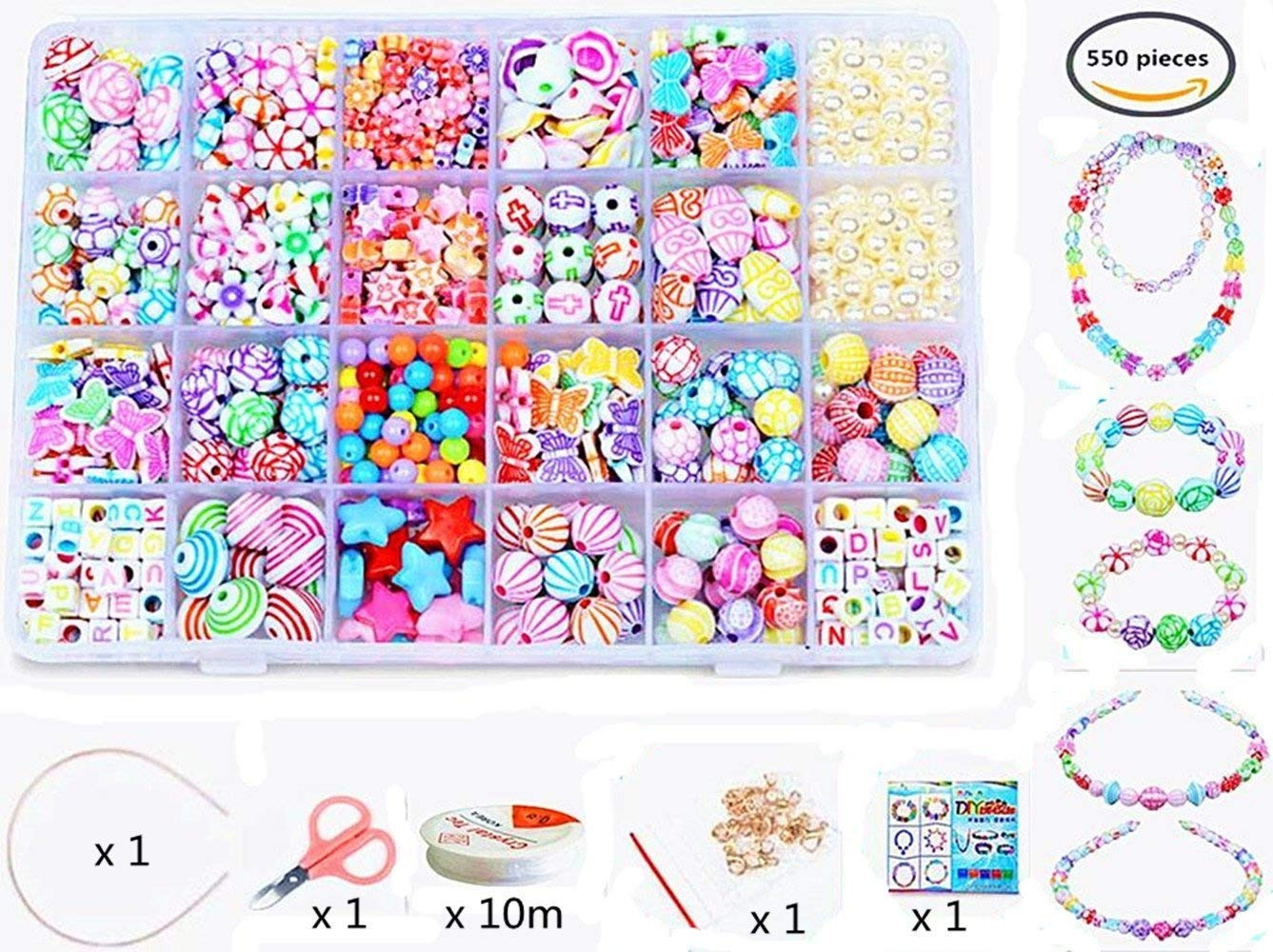 Vytung Beads Set for Jewelry Making Kids Adults Children Craft DIY Necklace Bracelets Letter Alphabet Colorful Acrylic Crafting Beads Kit Box with Accessories(color#6)