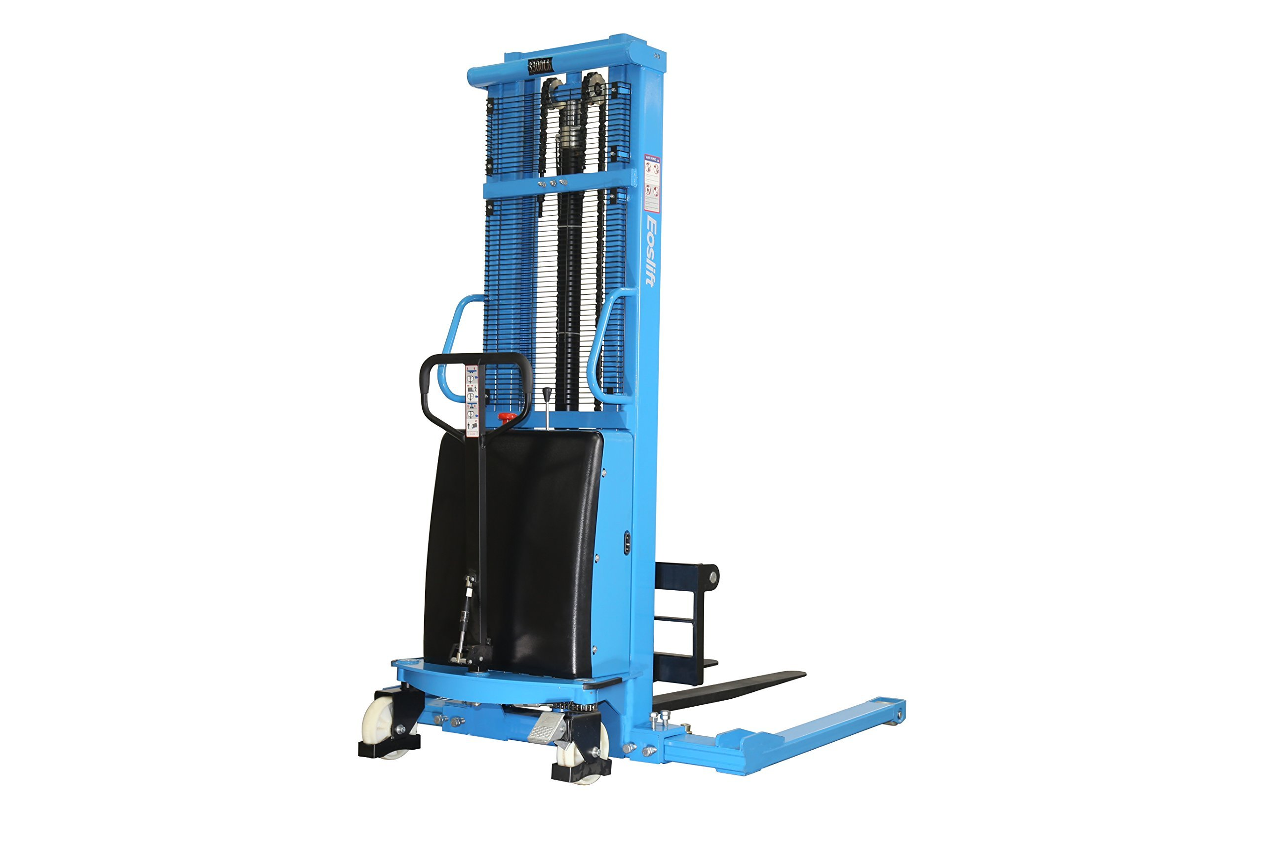 Eoslift S15J Powered Lift / Semi-Electric Stacker With Adjustable Forks and Support Legs, 118'' Raised Height, 42'' Length X 8.3''-33'' Adjustable Width Fork, 3300 Lb. Capacity