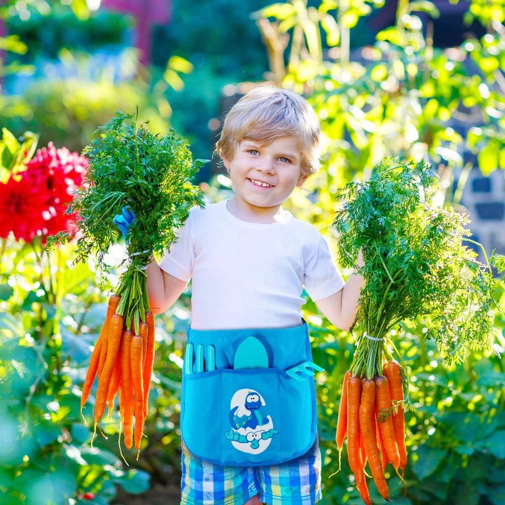 Childrens Gardening Belt and Tools with Gardening Gloves Rake and Fork Blue Trowel Children Gardening Tools for Kids Colwelt Kids Garden Tools
