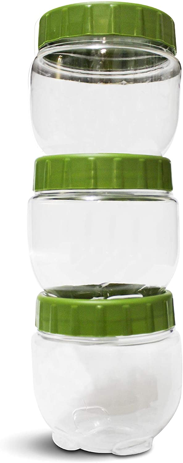 DUXU T-Lock Food Storage Containers – Set of 3, 16Oz Twist & Lock Stackable Jars - BPA Free & Durable Plastic Snack Containers with Interlocking Leakproof Lids - Keep Food Dry & Fresh (Green)