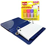 3x5 Index Card Binder And Color Clip Tabs Notebook Bundle - A Single Oxford Poly Card Holder (Blue, Green Or Burgundy) Plus 24 Dual-Sided Clip Flags In Orange, Pink, Violet And Lime Green.