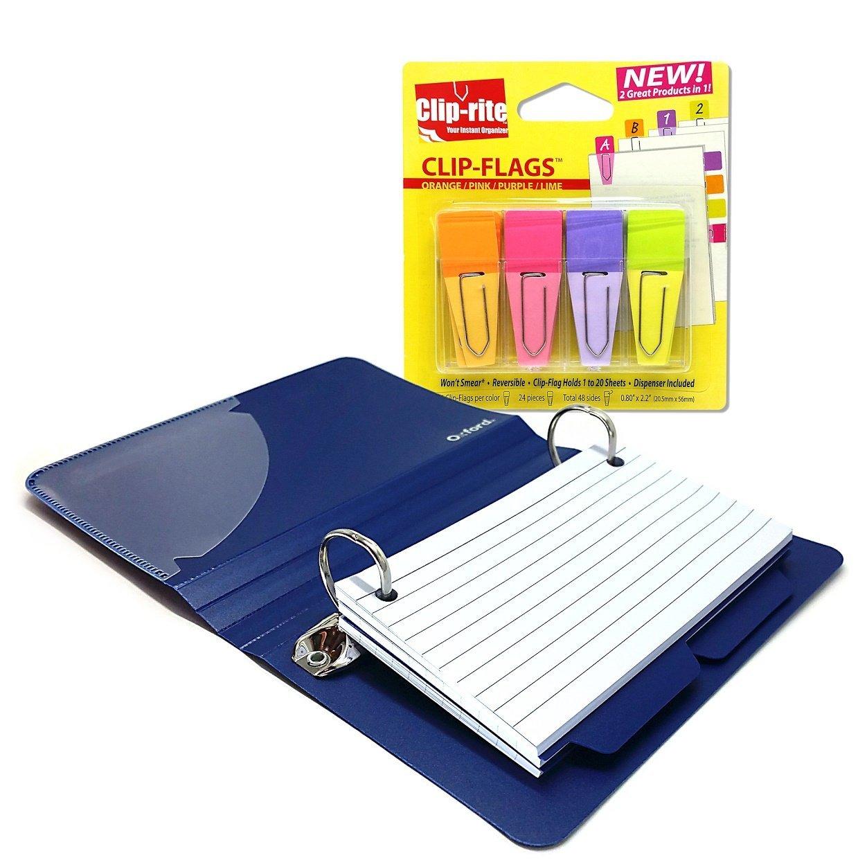 ajpsales 3x5 index card binder and color clip tabs bundle