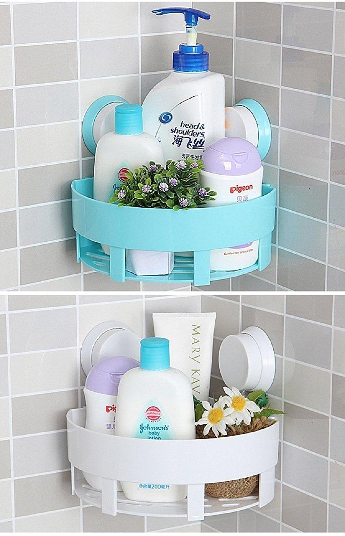 Bath Corner Shelf, AnGeer Plastic Bathroom Kitchen Wall Corner ...