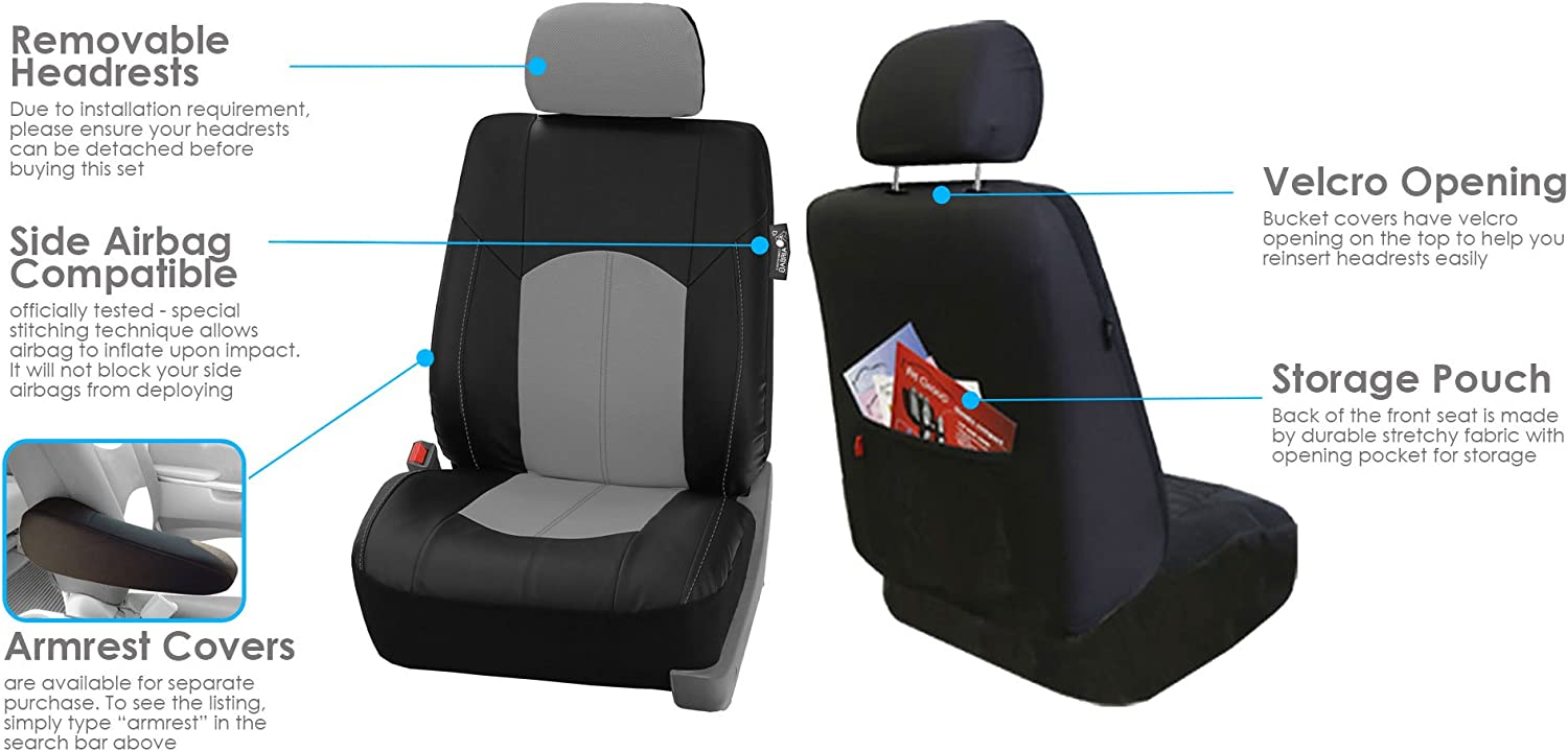 Highest Grade Faux Leather Seat Covers FH Group PU008114GRAYBLACK