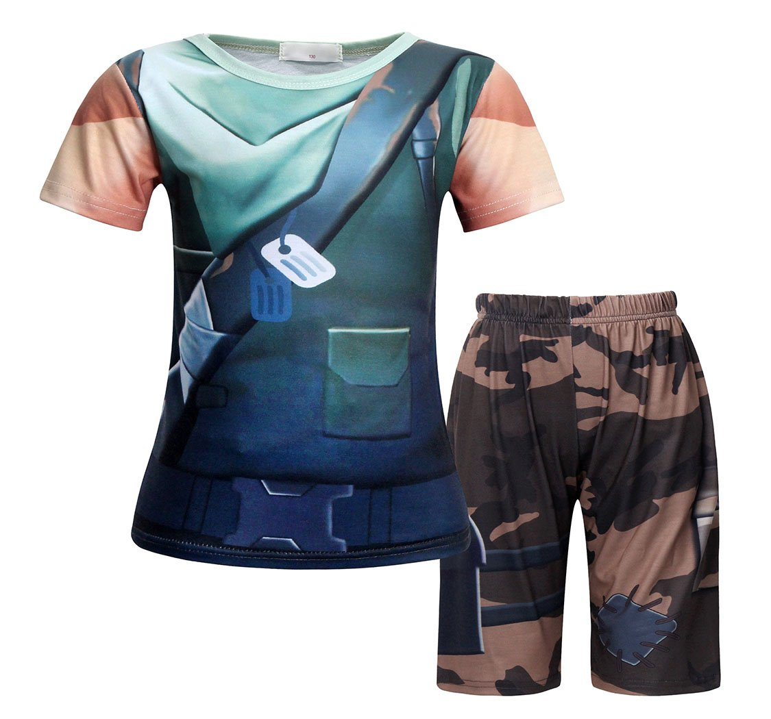AmzBarley Battle Costume Royale Games Gamer Shirt and Shorts Outfits Size 8
