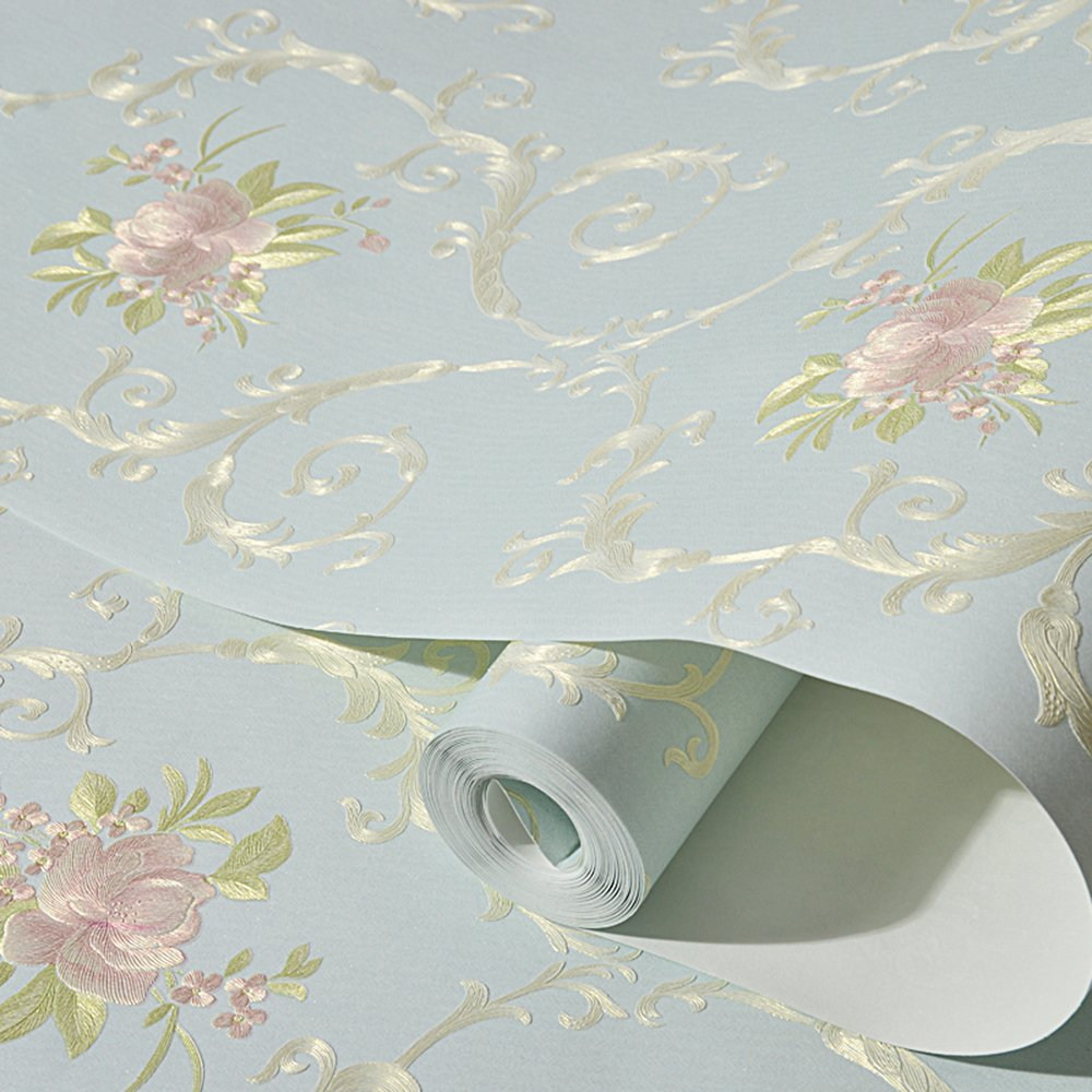 Non-Woven Self Adhesive Removable Wallpaper Luxury Embossed Floral Mural Wallpaper Stick and Peel Roll 20.83 Inches by 9.8 Feet